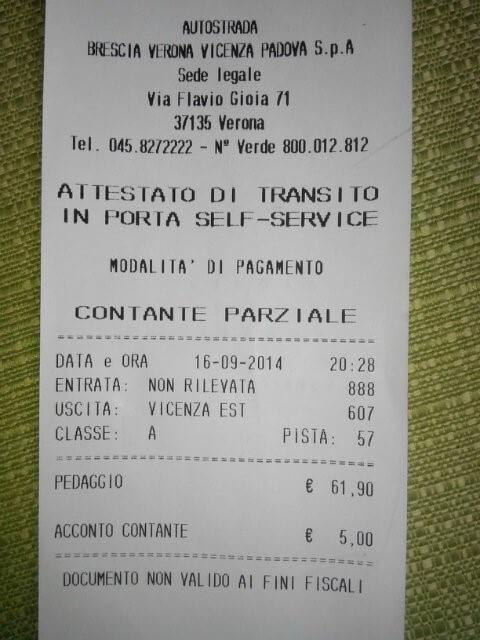 Фискальный чек об оплате в Италии