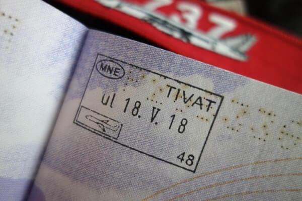 отметка Тиват в загранпаспорте