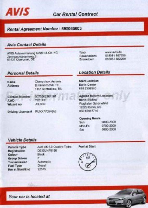 контракт на прокат авто