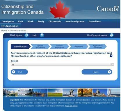Онлайн-регистрация для получения визы в Канаду