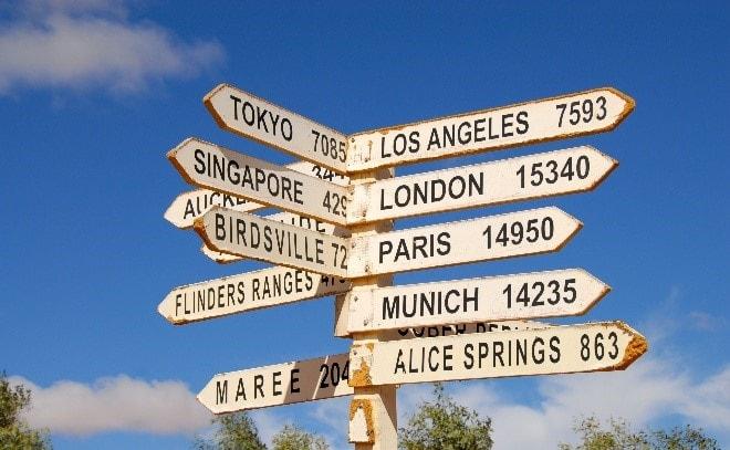 Указатели с расстояниями до стран