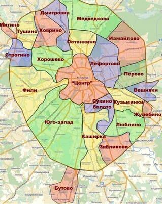 Карта районов Москвы