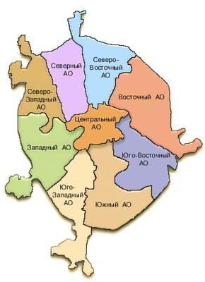 Карта округов Москвы