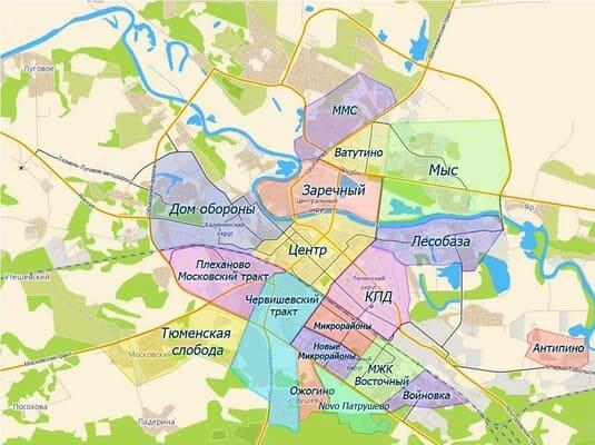 Карта микрорайонов