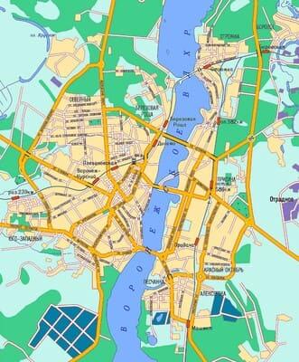 Карта микрорайонов Воронежа