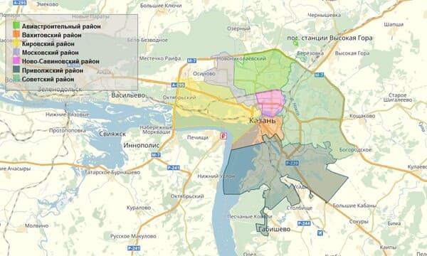 Карта районов Казани