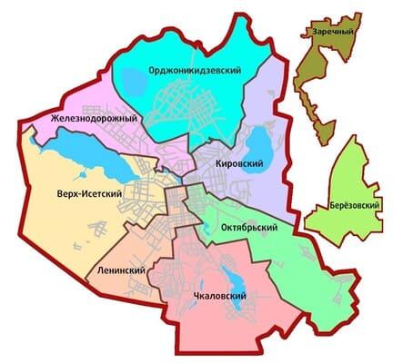 Карта районов Екатеринбурга